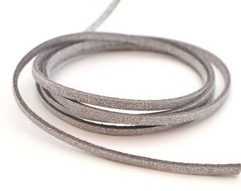 50cm cord 3mm silver flat grey suede