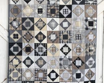 Flannel Quilt Throw, Black/Brown Throw quilt, Handmade quilt,