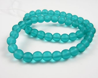 Czech Glass 6mm Matte Teal  Rounds