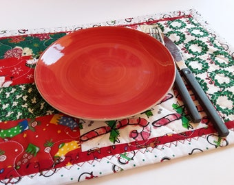 Adorable Retro Decor, Holiday Placemats, Set Of 4 Mats, Handmade