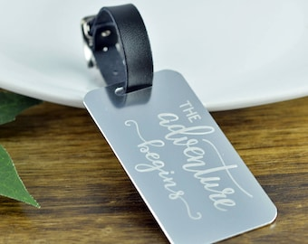 The Adventure Begins Luggage Tag, Personalized Gifts, Wedding Gift, Luggage Tag Personalized, Luggage Tag, Engraved Luggage Tag, Luggage Tag