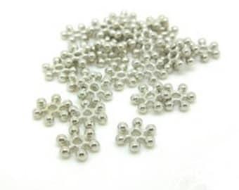 50 beads metal flat color Platinum 8.5x2.5 mm snowflake shape