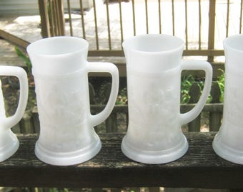 Milk Glass Beer Steins, Set Of Four Matching, Embossed Design,