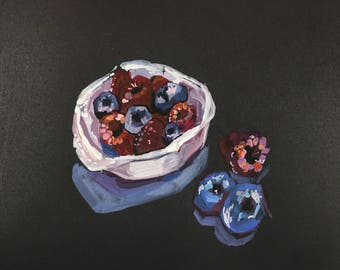 Pink Raspberries and Blueberries Still Life  Gouache Painting