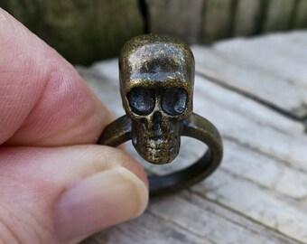 SALE Vintage Aged Brass Skull Ring