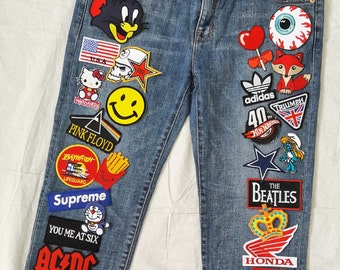 Patched Denim / Patched Jeans / Reworked Vintage Jeans with Patches / Vintage Denim Jeans Women 30 Waist