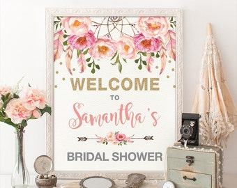 Wedding decorations etsy au floral bridal shower welcome sign pink gold bohemian flowers boho bridal shower decor pink feathers glitter confetti dreamcatcher flo12a junglespirit Choice Image