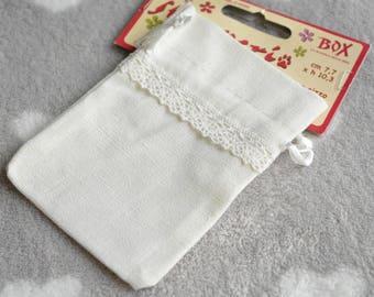 Cream white burlap bag with lace