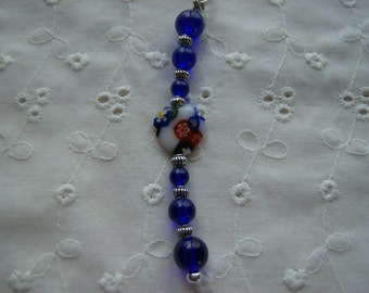 Blue Glass Beaded Purse Charm or Zipper Pull with Millefiori Heart Bead Free Shipping