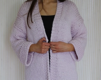 Long Hand Knit Womens Cardigan Jacket, Chunky Knit Sweaters, Merino Wool Sweater, Open Front Lilac Cardigan, Chunky Jacket, Short Sleeve