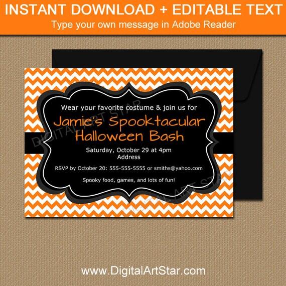 Adult Halloween Invitation Template, Adult Halloween Party Invitations, 5x7  Halloween Sign, Orange Chevron Invitation, Printable Invitations
