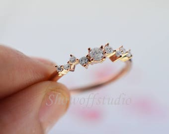 Diamond Cluster Ring, Twig engagement Ring Rose Gold GP Mini Floral Unique Wedding Band Women Bridal Jewelry Promise Ring Anniversary Gift
