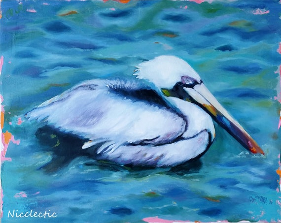 Pelican painting, pelican swimming in the ocean, beach birds, ocean art, beach house decor, white and blue coastal art, Nicclectic, oil