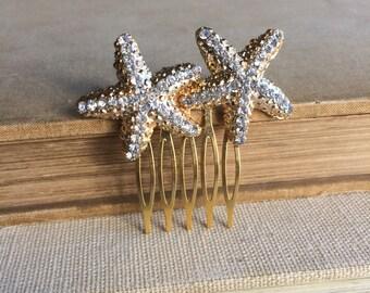 Starfish comb gold, Beach Wedding hair comb, beach wedding hair accessories headpiece head piece starfish hair clip bridal starfish gold