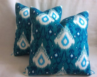 Pair of Ethnic Indoor/ Outdoor Pillow Covers -  Turquoise Ikat - Mill Creek Fabric - 18x18 Covers