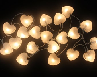 20  Battery Powered LED White Love mulberry paper Lanterns for Party, Partio, Party lights decoration