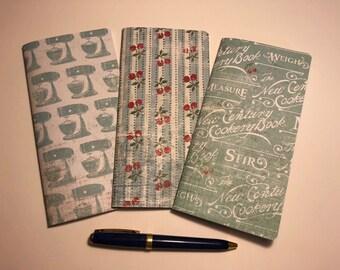 """Set of 3 Weeks Traveler's Notebook Inserts """"Vintage Baking"""""""