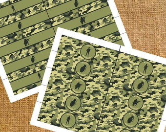 Army Camo Birthday Party Favors - Napking Ring Holder - Digital File - INSTANT DOWNLOAD