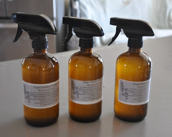 Natural Super Surface Cleaner 16 ounce Heavy Duty Amber Glass Spray Bottle