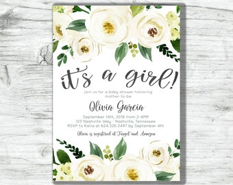 Baby Shower Invitation It's a Girl White Cream Green Watercolor Floral Digital Printable