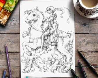Printable Adult Coloring Page | Grayscale Coloring | Medieval Fairytale illustration | Zan Von Zed
