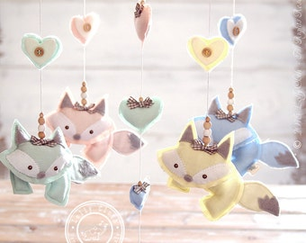 Baby Fox Mobile, Baby Nursery Mobile Fox, Baby Mobile, Fox Baby Shower Decoration, Fox Fabric, Baby Boy Decor, FREE 2-day DELIVERY WORLDWIDE