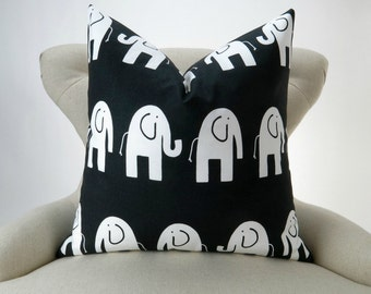 Elephant Pillow, Black & White Nursery Pillow, Euro Sham, Kids Decor, Zoo Nursery -MANY SIZES- Ele by Premier Prints