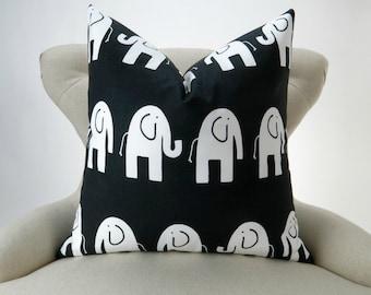 Elephant Pillow, Black & White Nursery Pillow, Euro Sham, Kids Decor, Zoo Nursery -MANY SIZES- Ele by Premier Prints