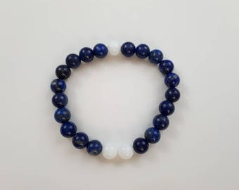 High quality vegan, ethical, handmade gemstone bracelet. Beads; lapis lazuli and alabaster.