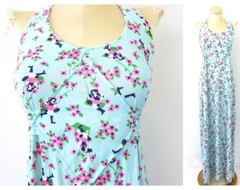 Long Maxi Dress 1960s Backless Summer Dress Floral Print Pattern Retro Dress Vintage Costume Dress Womens Size Small Medium