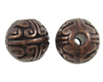 12pc 8mm antique copper finish metal alloy round beads-5901z