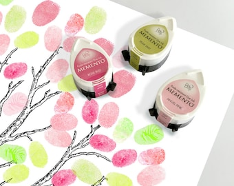 three blossom ink pads for baby shower fingerprint guest book tree or wedding - spring set green & pink - three momento dew drop tsukineko