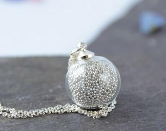 Mini perle en argent Collier avec chaîne en argent