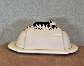 Butter Dish Cat Vintage Ceramic