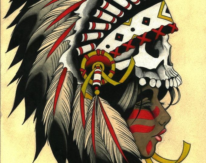 Native Woman with Skull Hat Tattoo Art Print