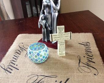 Family, Faith, Friends burlap Centerpiece mat