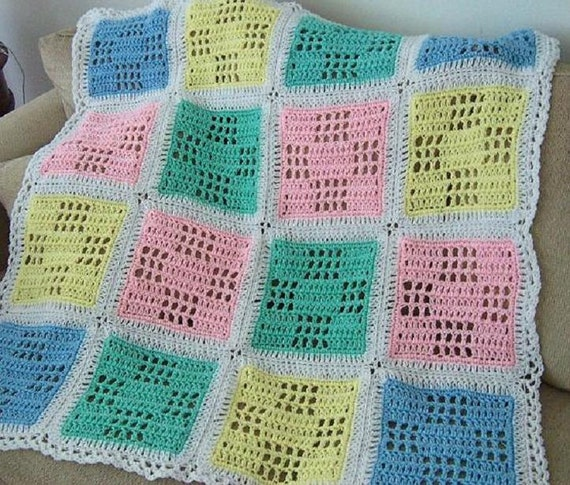Pattern Only Nine Patch Granny Filet Crocheted Baby Afghan Blanket