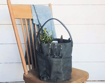Bucket Bag - Signature Collection - Garden Tote - Tool Bag - Waxed Canvas