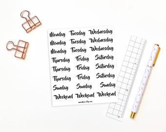 Weekday planner stickers - 24 weekday and weekend stickers, planner stickers, days of the week stickers, bullet journal stickers