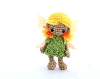 fairy doll, crochet flower fairy, tiny amigurumi fairy creature, small fairy doll, gift for girl, fairy party decor, inspired by Tinker Bell