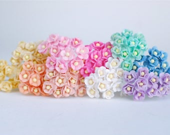 Small Paper Flower with stem,  , 100 pcs., size 0.8 cm., creeping flowers 2 layers, pastel mixed rainbow color, ivory pollen.