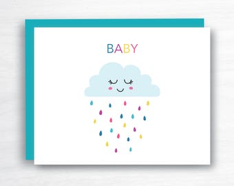Baby Card - New Baby Card - Baby Shower Card - Baby Rain Card  - Baby Girl Card  - Baby Boy Card - Neutral Baby Card - Neutral Baby Card