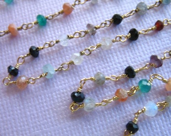 Rosary Chain / CONFETTI Gemstone Wire Wrapped Chain / by the Foot Beaded Chain / Silver or Gold Plated / Wholesale Chain  rc.7 solo