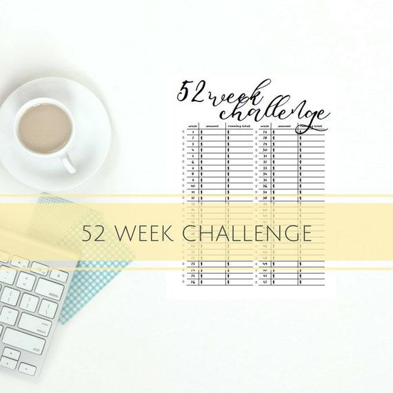 52 week Savings Challenge Savings Chart Savings Tracker