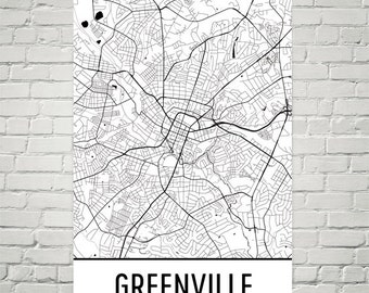Greenville Map, Greenville Art, Greenville Print, Greenville SC Poster, Greenville Wall Art, Greenville Gift, Map of Greenville, Decor, Map