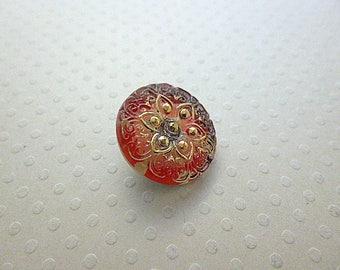 18 mm - BCZ18 1238 Estrella red glass button