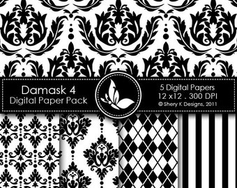 Damask Paper Pack 4 - 5 Printable Digital scrapbooking papers - 12 x12 - 300 DPI