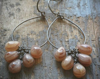 wood grain cluster hoop earrings. czech glass drops and oxidized sterling silver by val b.