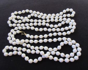 Vintage Art Deco Extra Long Hand Knotted Milk Glass Bead Necklace 155cm