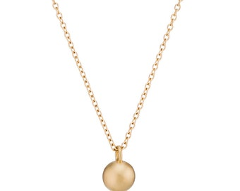Gold Ball Necklace, Solid 14K Gold Heavy Sphere Pendant Necklace, gift for her, made to order in 7-10 days